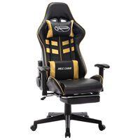 vidaXL fekete és aranyszínű műbőr gamer szék lábtámasszal