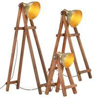 vidaXL 3 db sárgaréz színű tömör mangófa állólámpa E27