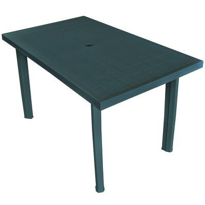 vidaXL zöld műanyag kerti asztal 126 x 76 x 72 cm