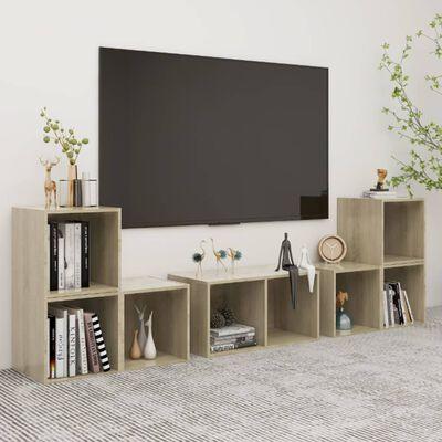 vidaXL 6 részes sonoma-tölgyszínű forgácslap TV-szekrényszett