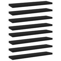 vidaXL 8 db fekete forgácslap könyvespolc 40 x 10 x 1,5 cm