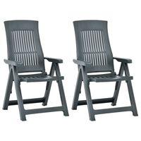 vidaXL 2 db zöld dönthető műanyag kerti szék