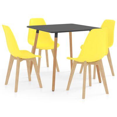 vidaXL 5 részes sárga étkezőszett