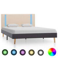 vidaXL krémszínű-sötétszürke LED-es szövet ágykeret 120 x 200 cm