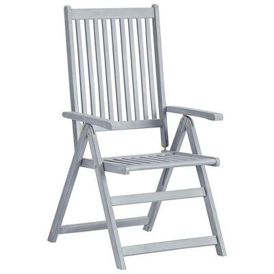 vidaXL 6 db dönthető tömör akácfa kerti szék párnával