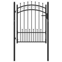vidaXL fekete acél kerítéskapu cövekekkel 100 x 125 cm
