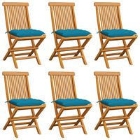 vidaXL 6 db tömör tíkfa kerti szék világoskék párnával