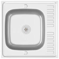 vidaXL ezüstszínű rozsdamentes acél mosogató lefolyóval 600x600x155mm