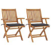 vidaXL 2 db tömör tíkfa kerti szék antracitszürke párnával