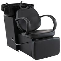 vidaXL fekete műbőr fejmosó szék mosdókagylóval