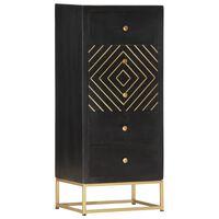 vidaXL fekete és aranyszínű tömör mangófa fiókos szekrény 45x30x105 cm
