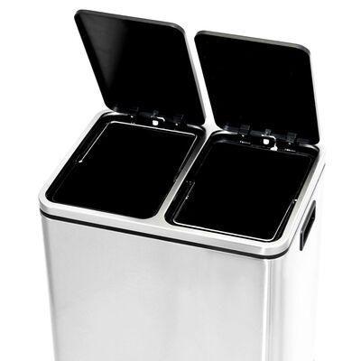 vidaXL rozsdamentes acél lábpedálos szelektív szemeteskuka 30 L