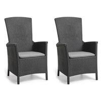 """Allibert """"Vermont"""" 2 db grafitszürke dönthető kerti szék"""