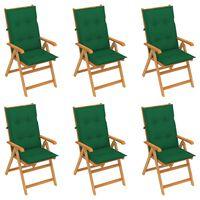 vidaXL 6 db tömör tíkfa kerti szék zöld párnával