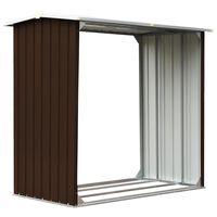 vidaXL barna horganyzott acél kerti tűzifatároló 172 x 91 x 154 cm