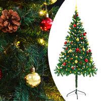vidaXL zöld műfenyő karácsonyfa díszekkel és LED fényekkel 180 cm