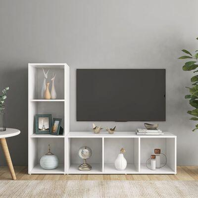 vidaXL 2 db fehér forgácslap TV-szekrény 107 x 35 x 37 cm