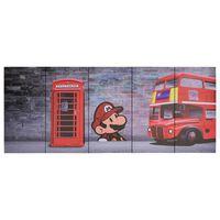 vidaXL többszínű London mintás nyomtatott vászon faliképszett 200x80cm
