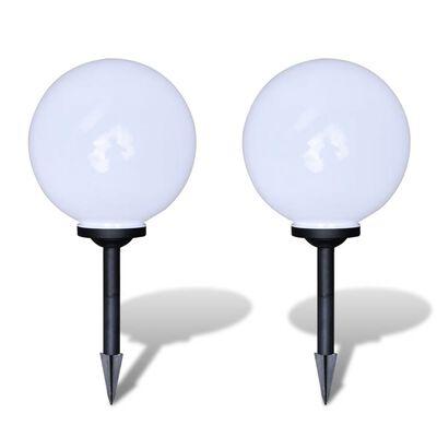 Napelemes gömb alakú LED égős kültéri lámpa 30 cm 2 db cövekkel