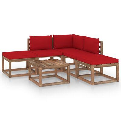 vidaXL 6 részes kerti ülőgarnitúra piros párnákkal