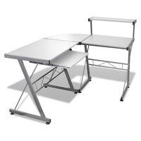 Számítógépasztal Dolgozóasztal Kihúzható Billentyűzet Tálca Fehér