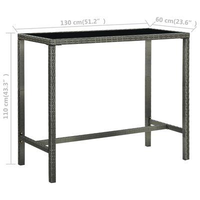 vidaXL szürke polyrattan és üveg kerti bárasztal 130 x 60 x 110 cm