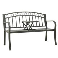 vidaXL szürke acél kerti pad asztallal 125 cm