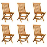 vidaXL 6 db összecsukható tömör tíkfa kerti szék