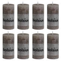 Bolsius 8 db tópszínű rusztikus oszlopgyertya 100 x 50 mm