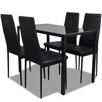 vidaXL 5 darabos fekete étkezőasztal szett