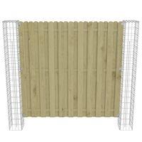 vidaXL fenyőfa kerítéspanel gabionoszlopokkal 180 x 180 cm
