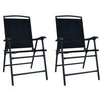 vidaXL 2 db fekete összecsukható kerti textilén szék