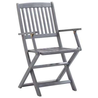 vidaXL 2 db összecsukható tömör akácfa kültéri szék párnával