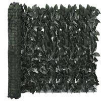 vidaXL sötétzöld leveles erkélyparaván 400 x 75 cm