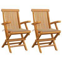 vidaXL 2 db tömör tíkfa kerti szék bézs párnával