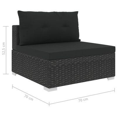 vidaXL 10-részes fekete polyrattan kerti bútorszett párnákkal