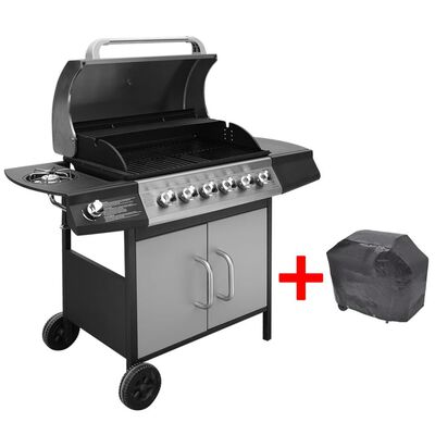 vidaXL fekete és ezüst gáz grillsütő 6+1 fűtőfelülettel