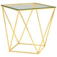 vidaXL arany-átlátszó rozsdamentes acél dohányzóasztal 50 x 50 x 55 cm
