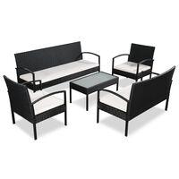 vidaXL 5-részes fekete polyrattan kerti bútorszett párnákkal