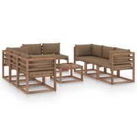 vidaXL 9 részes kerti ülőgarnitúra tópszínű párnákkal