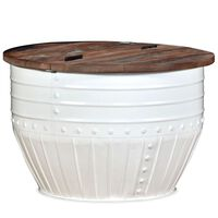 vidaXL fehér hordó alakú újrahasznosított fa dohányzóasztal