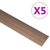 vidaXL 5 db barna alumínium padlóprofil 134 cm