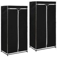 vidaXL 2 db fekete ruhásszekrény 75 x 50 x 160 cm