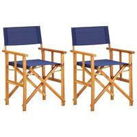 vidaXL 2 db kék tömör akácfa rendezői szék