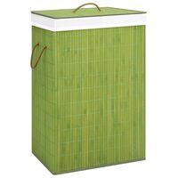 vidaXL zöld bambusz szennyestartó kosár