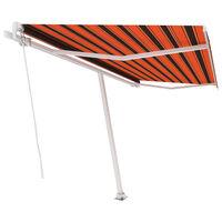 vidaXL narancs és barna kézzel kihúzható póznás napellenző 400x300 cm