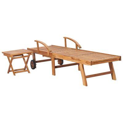 vidaXL tömör tíkfa napozóágy asztallal és párnával