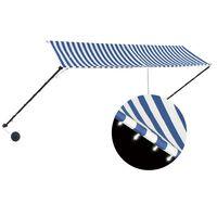vidaXL feltekerhető kék és fehér napellenző LED-del 350 x 150 cm