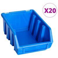 vidaXL 20 db kék műanyag rakásolható tárolódoboz