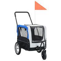 vidaXL szürke és kék kutyaszállító kerékpár-utánfutó és sétakocsi